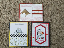 New listing 3 Handmade Stampin Up Cards Cow Over The Moon, Horse Let it Ride