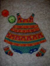 Vhtf Vintage '90s Rainbow Gymboree Miami Beach Novelty Bubble Dress & sock 6-12