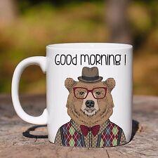 Tazza ceramica ORSO BRUNO GOOD MORNING ANIMAL HIPSTER ceramic mug