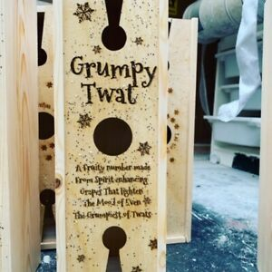 Humerous Wooden Wine Box for a Grumpy Twat