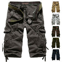 Men's Army Cargo Shorts Summer Slim Cotton Solid Multi-Pocket Cargo Short Pants