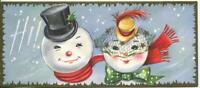 VINTAGE CHRISTMAS SNOWMAN SNOW GIRL HI EMBOSSED MID CENTURY GREETING ART CARD