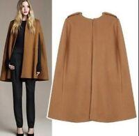 New Womens wool blend cape cloak Poncho Loose fit coat Parka size S M L Fashion