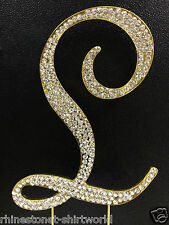 "GOLD Plated Rhinestone  Monogram Letter ""L""  Wedding Cake Topper  5"" inch high"
