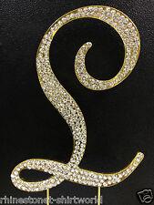 "GOLD Plated Rhinestone  Monogram Letter ""L""  Wedding Cake Topper  5"" inch high"