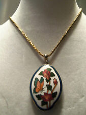 (TRIFARI) INCREDIBLE Vintage Cloisonne BUTTERFLY Style Pendant Necklace 13EN231