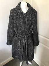 Gorgeous Hobbs Black And Grey Wool Tweed Belted Coat Jacket UK 18