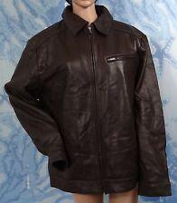 NWT EMANUEL UNGARO brown  Soft Lambskin leather Men's zip front Jacket, size XL