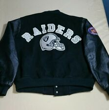 Vtg 80s 90s Oakland Raiders Chalkline Varsity Wool Leather Jacket AFC Conference
