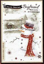 SPECIAL BOYFRIEND CHRISTMAS CARD  Quality Traditional Snowman Design