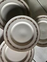 "4 Franciscan Fine China Arcadia Gold Vintage Salad Plates 8-3/8"" Set"