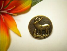 """ANTIQUE DEER STAG HUNTING PICTURE BUTTON  7/8"""""""