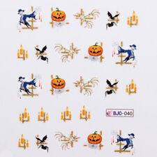 Halloween NAIL ART ADESIVI AD ACQUA trasferimenti CANDELINE ZUCCHE Skelton Albero (BJC40)