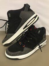 Mens 9.5 FUBU Shoes BLACK GRAY MID-CUT Mock Suede Look LACE UP Flexible W4