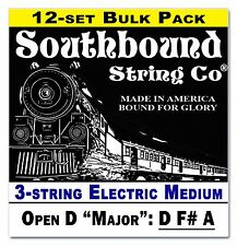 12-pack Cigar Box Guitar Strings: 3-string Electric Medium Open D DF#A  34-11-02