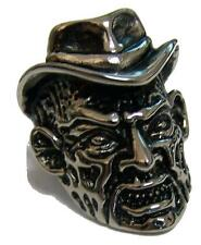 FREDDY MONSTER HEAD WITH HAT STAINLESS STEEL RING size 9 silver S-534 biker NEW