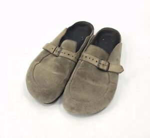 BIRKENSTOCK EATON TAUPE SUEDE LEATHER BUCKLE CLOGS SHOES 41/ Ladies 10 Mens 8
