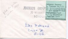 ENVELOPPE / GREVE DES POSTIERS LONDRES 1971 JOHNSON GROVER ASSOCIATES LONDON