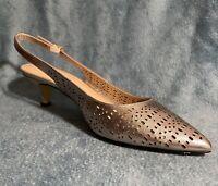 Bella Vita Shoes Women's Slingback Pump Gold Genuine Leather Upper Sz#12WW New
