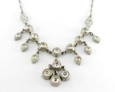 Silver Pot letal white metal Clear glass crystal Edwardian gemstone necklace