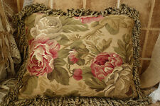 """20"""" OLD Vintage Flat Woven French Wool Aubusson Rose Floral Pillow Cushion"""