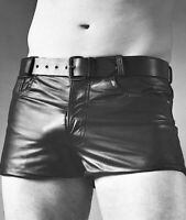 MENS REAL LEATHER SHORT CLUBWEAR SHORT SEXY GAY FETISH INTEREST BRAND NEW