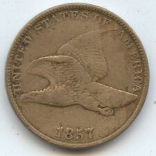 1857 Flying Eagle Cent (#7186) VF. Cleaned. Carefully Check out the Photos.