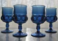 Tiara Indiana Glass 4 Imperial Blue Kings Crown 8 ounce Goblets