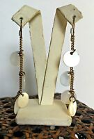 NEW - VINTAGE HULTQUIST GOLD PLATED EARRINGS MOTHER OF PEARL DROP DANGLE LAST 1