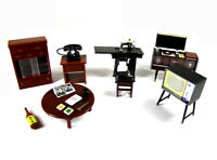 Vintage 6pcs Dollhouse Miniature Furniture set TV Record player Sewing Machine