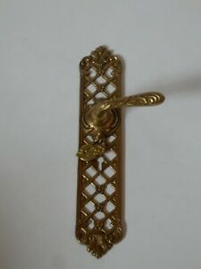 Vintage Ornate Brass Spring Loaded Door Handle With keyhole / Escutcheon #1588