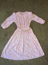 PELLINI By Von Bramlett Belted Dress Shoulder Pads 5/6 P Vintage Pink White