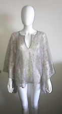JEN'S PIRATE BOOTY COTTON SILVER LACE SHORT CAFTAN PONCHO TUNIC TOP ONE SIZE