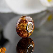 Cognac Baltic Amber Pandora Charm Silver Charms Amber Trollbead Bracelet Beads