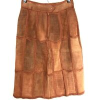 Vintage Montgomery Ward Leather Skirt Real Suede Hippy Boho Patches Stitch Large