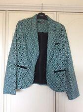 M&S Limited Collection Blue/navy/silver Geometric Print Jacket Blazer Retro SZ 8