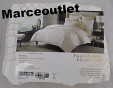 Hudson Park Luxe Collection Belmonte KING Embroidered Duvet Cover White