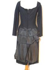 Cute 1950's Black Wool Knit / Taffeta Bustle dress SM