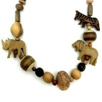 Rustic Wooden Necklace Zebra Lion Rhino Carved Beaded Large Primitive