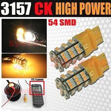 2x 3157SRCK Socket 54-LED 3528 SMD Amber Yellow Parking Turn Signal Light Bulbs