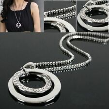 Stylish Women Crystal Rhinestone Long Chain Pendant Necklace Gift Silver Plated