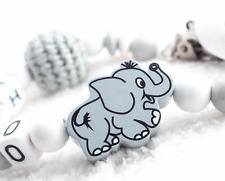 Schnullerkette mit Namen ELEFANT • Grau Babygeschenk Nuckelkette Häkelperle