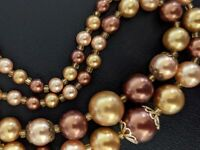 Vintage Copper & Gold Colored Lucite Multi Strand Bead Necklace Japan Beautiful!