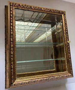 """HORCHOW Creazioni Artistiche Gold 17"""" Wall Curio Mirrored Display Cabinet Italy"""
