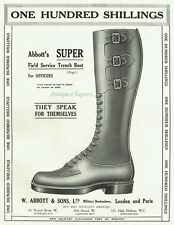 WWI Abbotts Officers Field Service Trench Boot 1916 Advertisement Ad B904