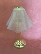 Original Partylite Teelichtlampe Tischlampe Gold Glasschirm H26 cm zeitlos D166