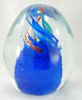 "4"" Blue Ocean Jellyfish, Nautical Decor Art Glass Paperweight"