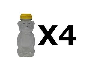 Plastic Squeeze Bear Bottle Container 12 OZ Honey Bee Jar Dispenser ~ 4 PK
