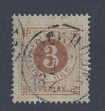 SWEDEN 1872  3ö  DARK ORANGE-BROWN  PERF 14  USED  SG 16