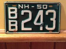 1950 New Hampshire License Plate BB 243 -Clean!